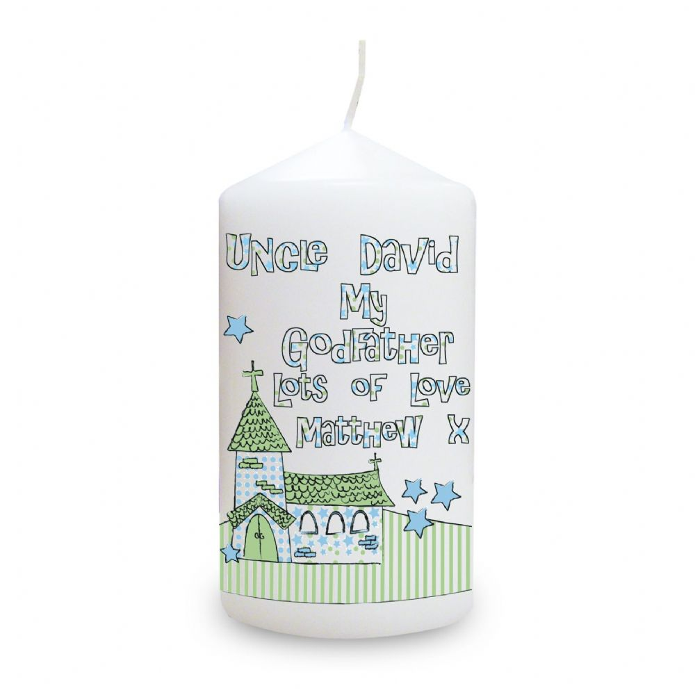 Personalised Whimsical Church Godfather Candle